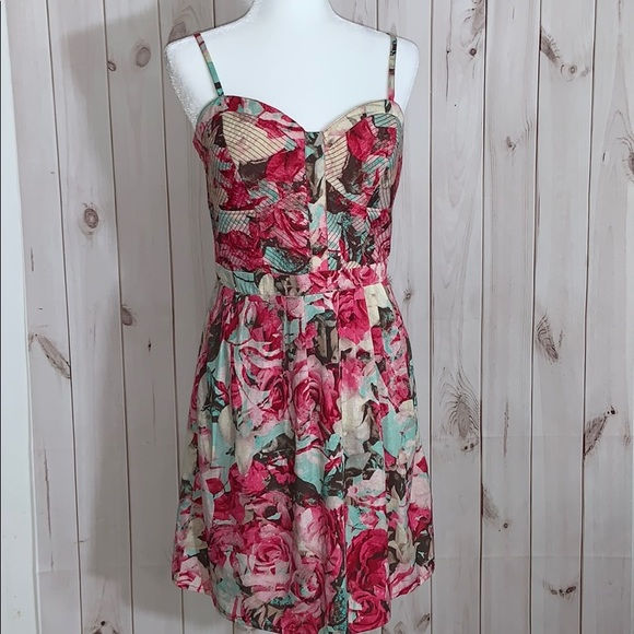 Jessica Simpson Sexy Floral Bustier Summer Dress